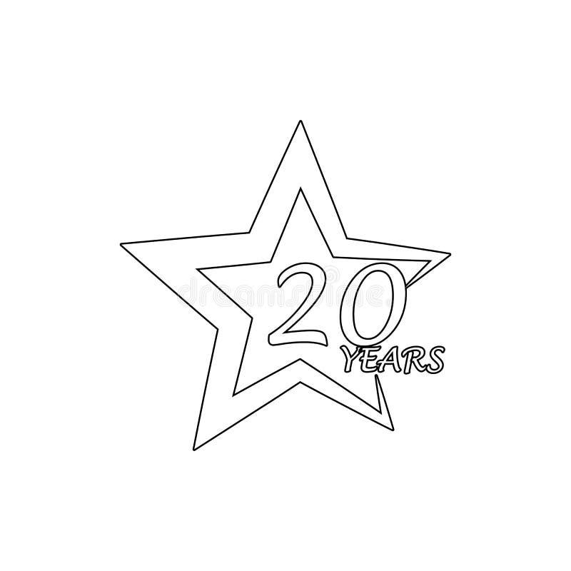 20 jaar van de sterverjaardag het teken Element van verjaardagsillustratie Grafisch het ontwerppictogram van de premiekwaliteit T vector illustratie