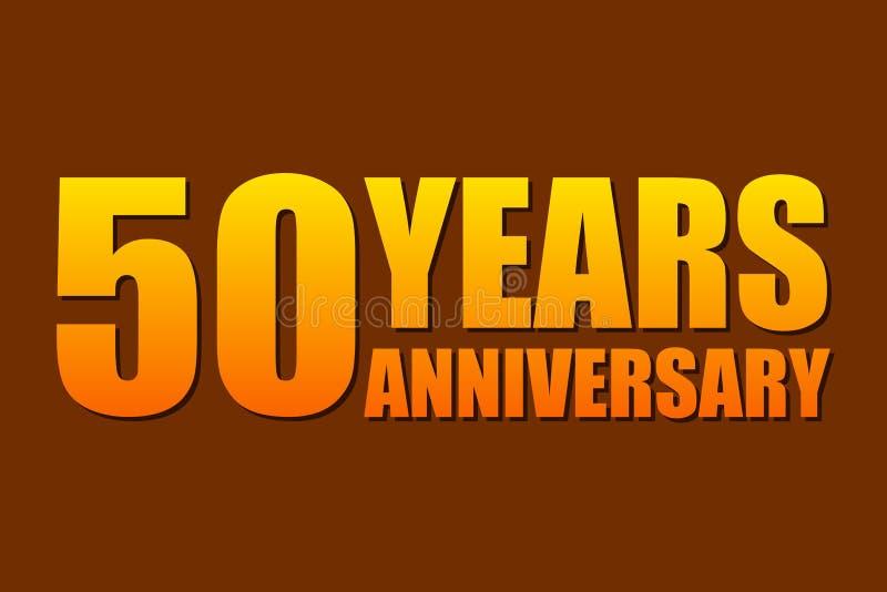 50 jaar van de verjaardagsviering het eenvoudige embleem Geïsoleerdd op donkere achtergrond Vector illustratie royalty-vrije illustratie