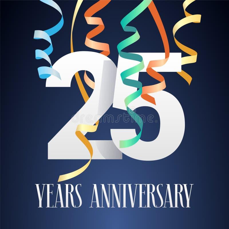 25 jaar van de verjaardagsviering het vectorpictogram, embleem stock illustratie