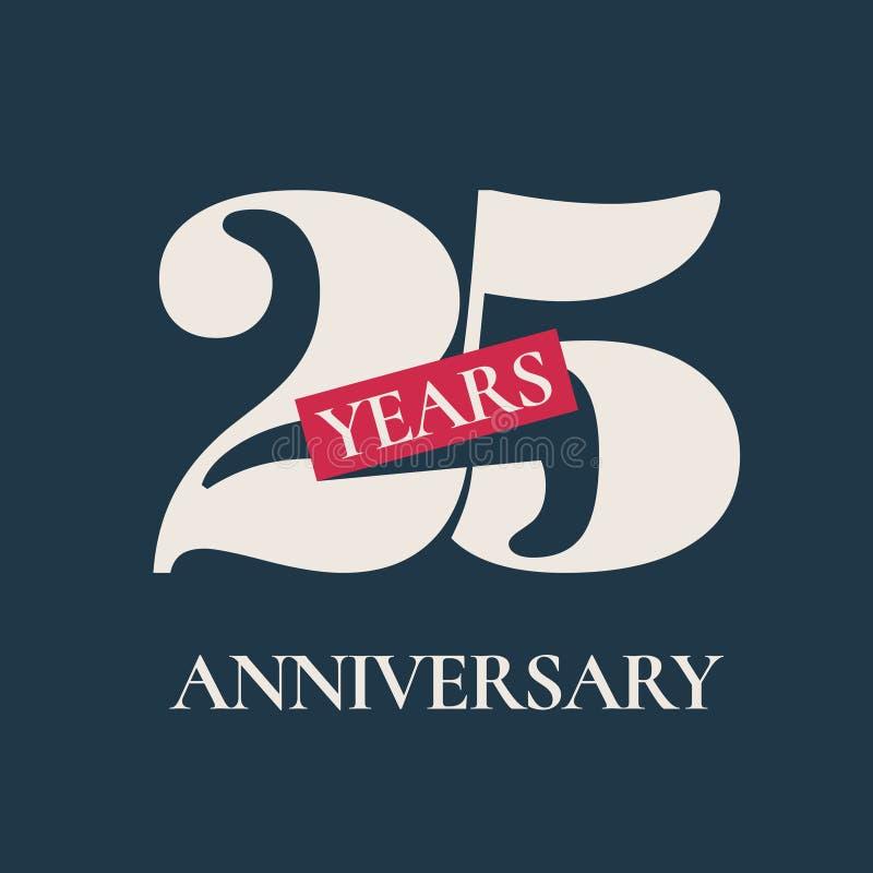 25 jaar van de verjaardagsviering het vectorpictogram, embleem royalty-vrije illustratie