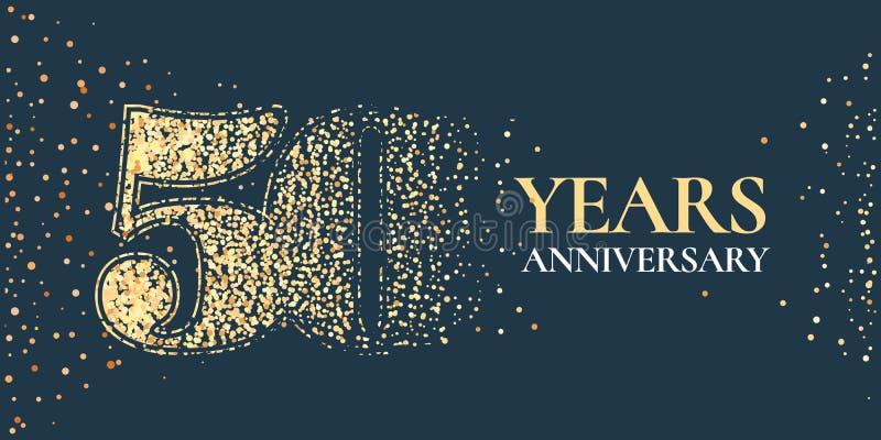 50 jaar van de verjaardagsviering het vectorpictogram, embleem royalty-vrije illustratie