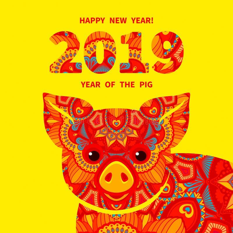 2019 Jaar van het VARKEN vector illustratie