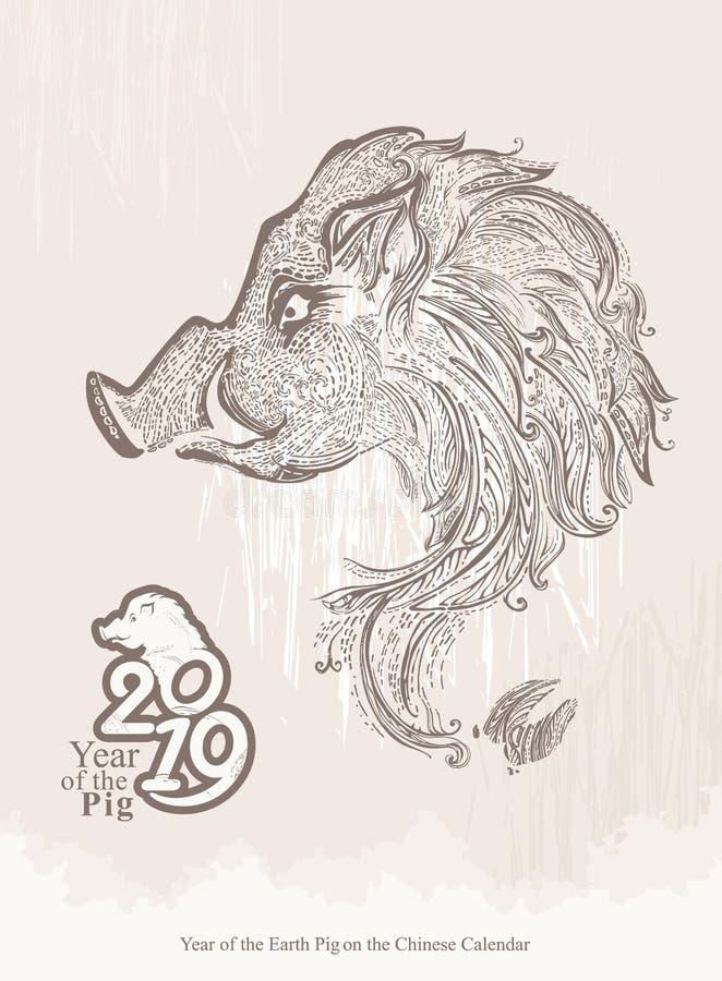 Jaar van het varken het jaar van 2019 Jaar van het symbool van de Varkensdierenriem stock illustratie