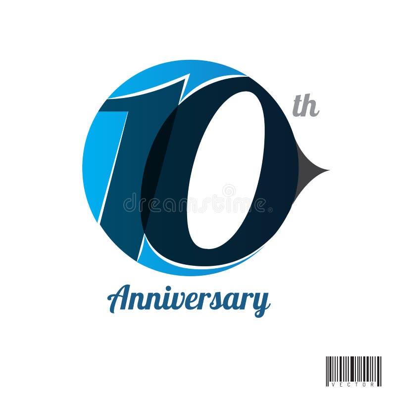 10 jaar van het verjaardagsembleem en symbool ontwerp royalty-vrije illustratie
