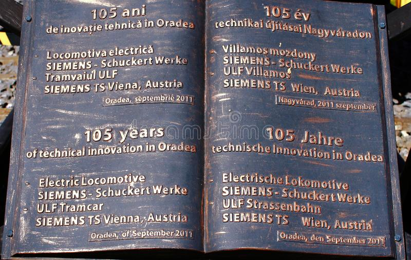 105 jaar van technische innovatie in Oradea royalty-vrije stock foto