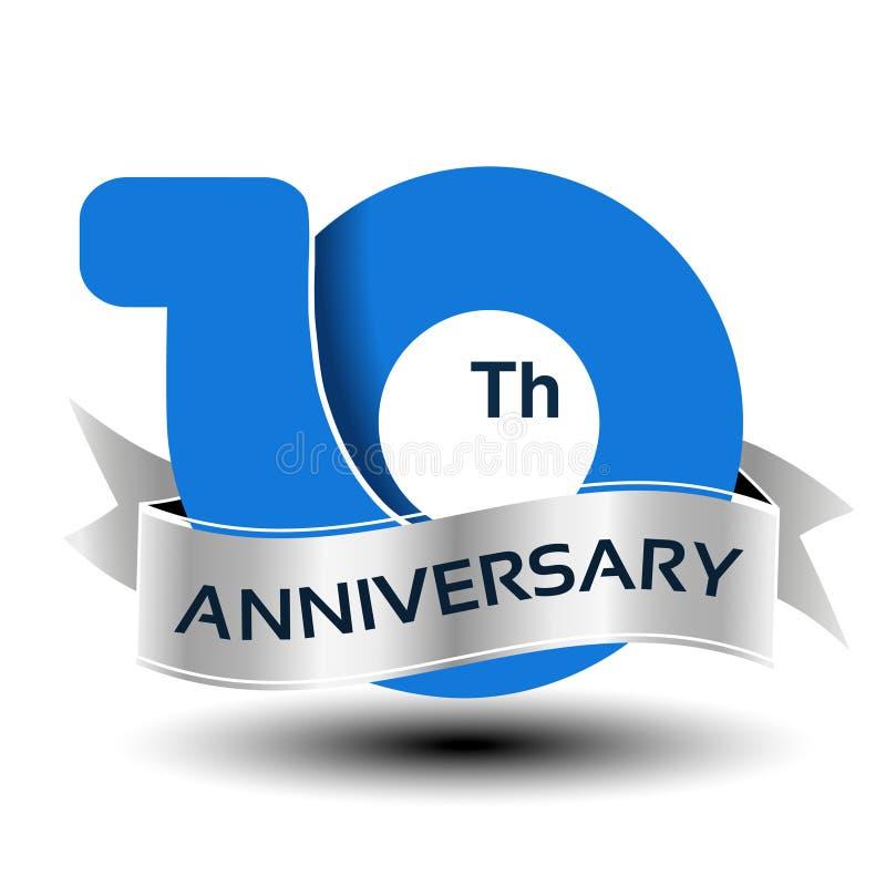 10 jaar verjaardags, blauw aantal met zilveren lint stock illustratie