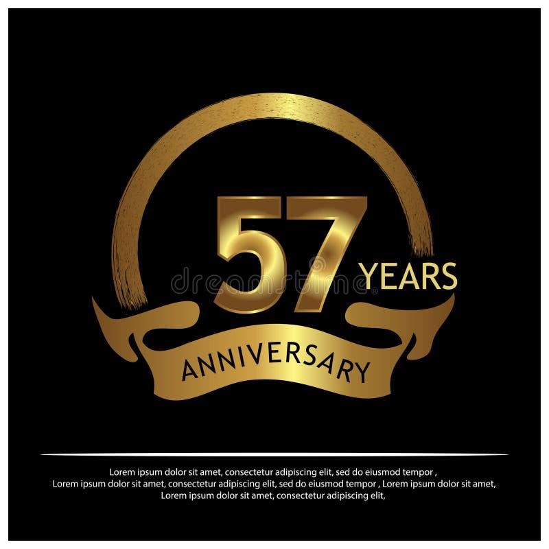 57 jaar verjaardags gouden het ontwerp van het verjaardagsmalplaatje voor Web, spel, Creatieve affiche, boekje, pamflet, vlieger, royalty-vrije illustratie