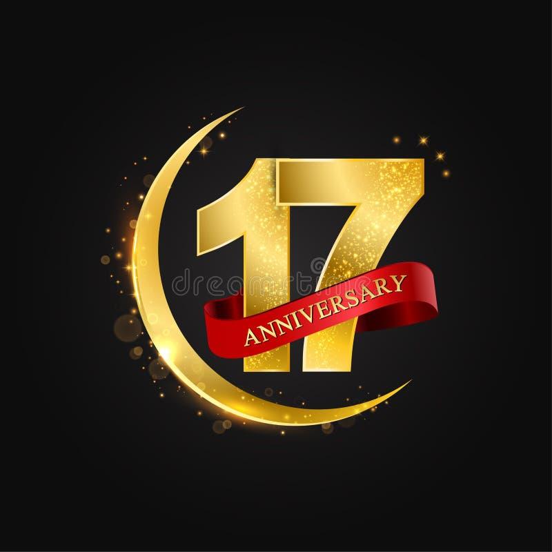 17 jaar verjaardags Het patroon met Arabische gouden, gouden halve maan en schittert stock illustratie
