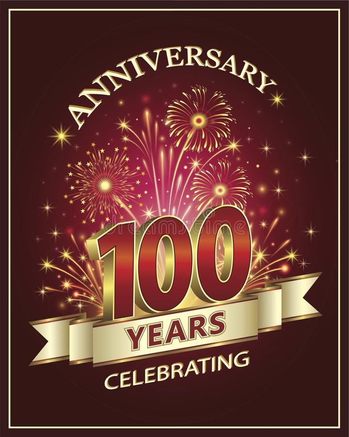 100 jaar verjaardags op een rode achtergrond royalty-vrije illustratie