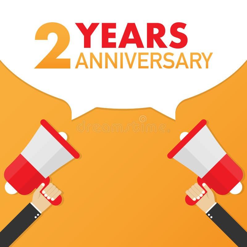 2 jaar verjaardags - reclameteken met megafoon Vector illustratie stock illustratie