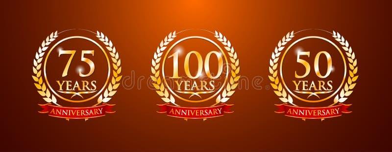 100 75 50 jaar verjaardagsetiketten royalty-vrije illustratie