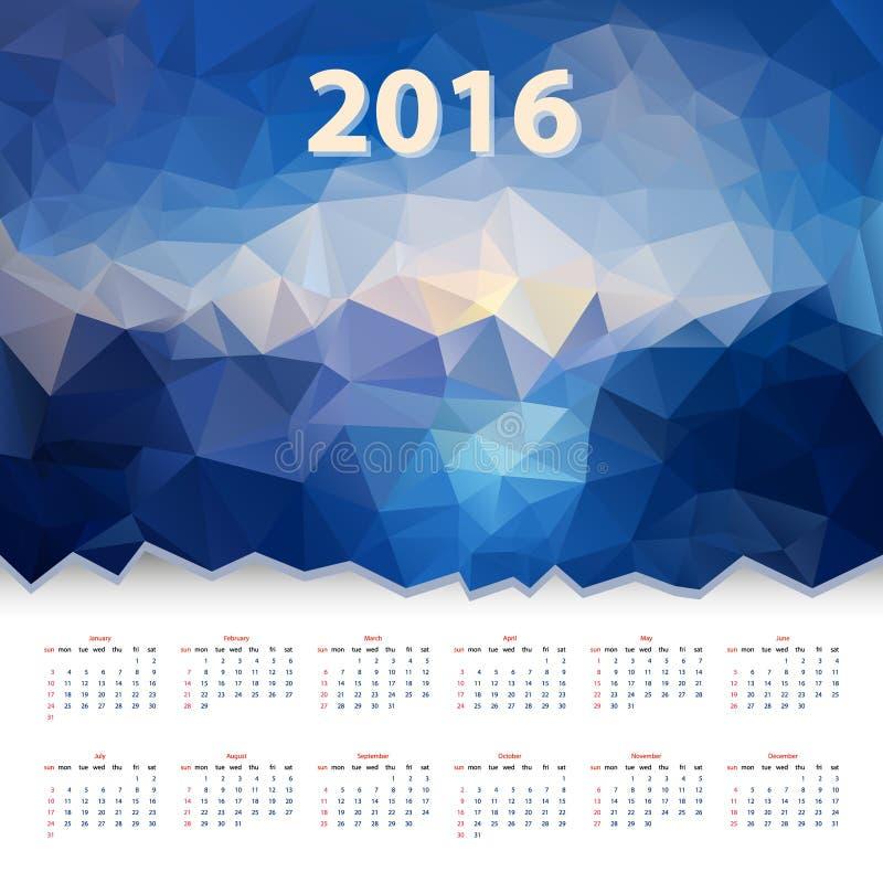 Jaarkalender 2016 - blauw veelhoekig driehoekig ontwerp - overzees - niveau royalty-vrije illustratie