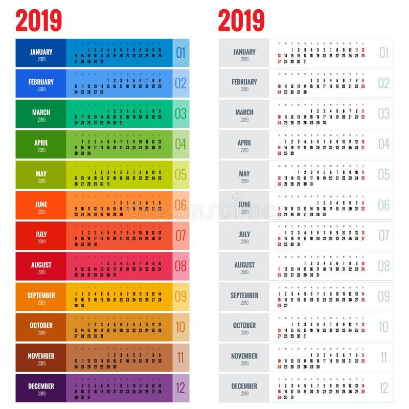 Jaarlijks de Ontwerpersmalplaatje van de Muurkalender voor het Jaar van 2019 Het vectormalplaatje van de Ontwerpdruk De week begi vector illustratie