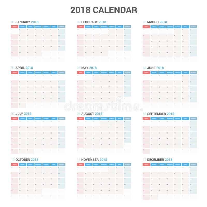 Jaarlijks de Ontwerpersmalplaatje van de Muurkalender voor het Jaar van 2018 Het vectormalplaatje van de Ontwerpdruk vector illustratie