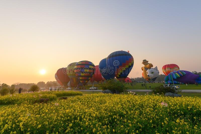 Jaarlijks internationaal ballonfestival in signhapark stock afbeelding
