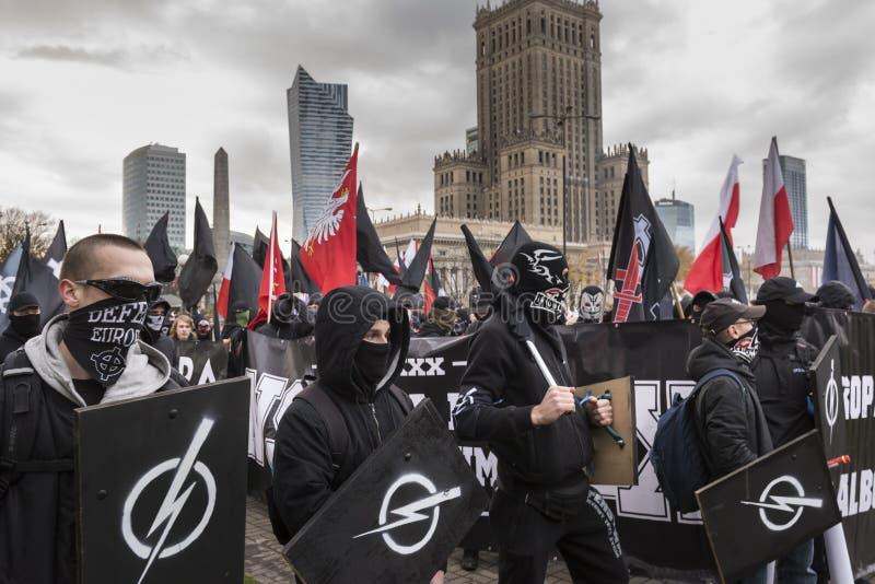Jaarlijks maart van de Nationale Onafhankelijkheid van Polen ` s Dag 2017 stock afbeelding