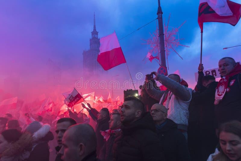 Jaarlijks maart van de Nationale Onafhankelijkheid van Polen ` s Dag 2017 royalty-vrije stock afbeeldingen