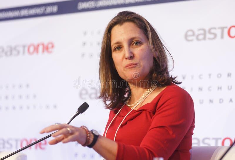 Jaarlijkse Vergadering 2018 van het wereld de Economische Forum in Davos stock foto