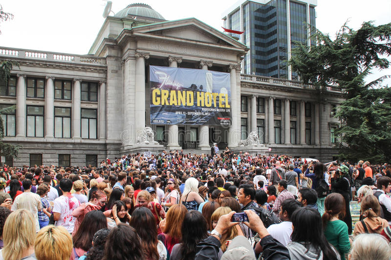 Jaarlijkse Zombiegang in Vancouve, Canada royalty-vrije stock afbeeldingen