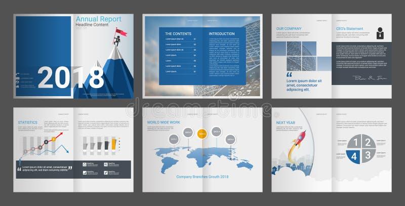 Jaarverslag, Bedrijfprofiel, Bureau Brochure, Multifunctioneel presentatiemalplaatje royalty-vrije illustratie