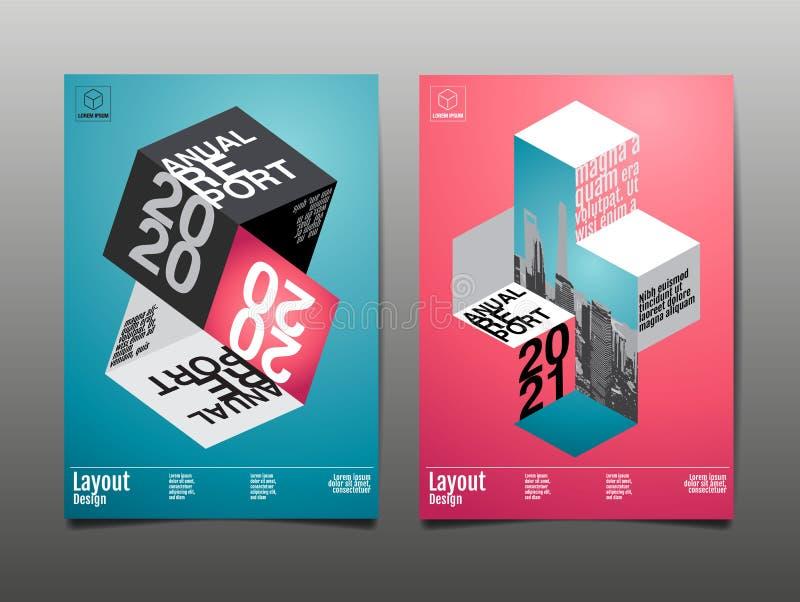 Jaarverslag 2020, 2021, veelhoek, geometrisch, het ontwerp van de malplaatjelay-out, dekkingsboek vectorillustratie, presentatie  stock illustratie