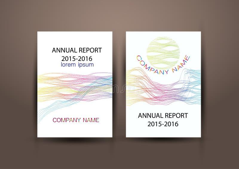 Jaarverslagdekking, kleurrijke het ontwerpachtergrond van het Dekkingsrapport vector illustratie