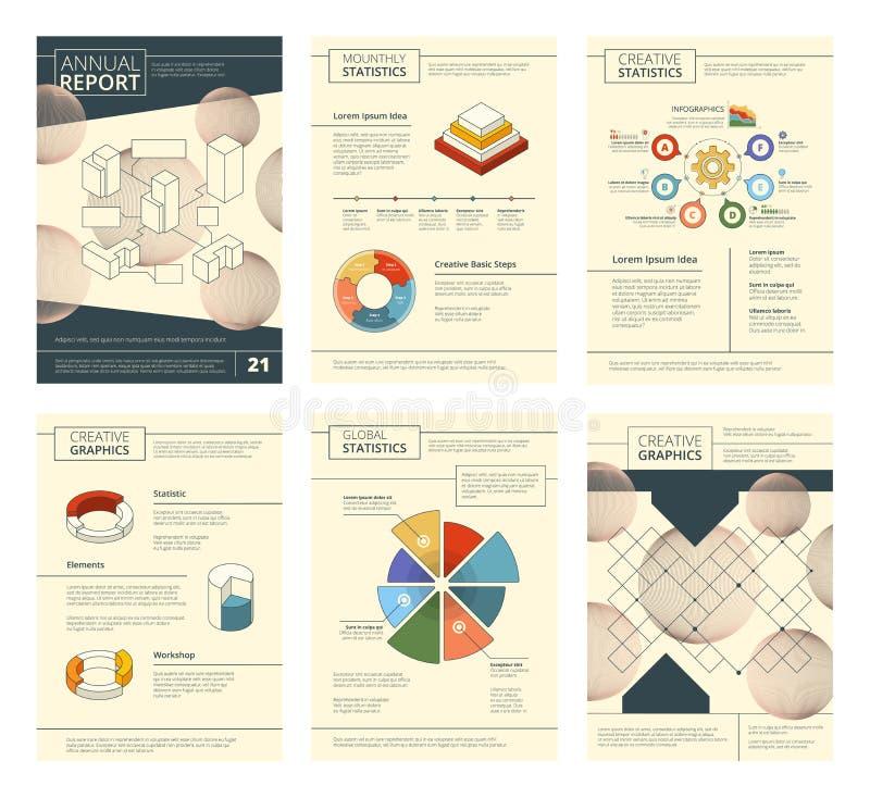 Jaarverslagmalplaatje Van de de presentatiebanner van het rapportbedrijf van de vliegerspagina's het boekjes vectorontwerp royalty-vrije illustratie