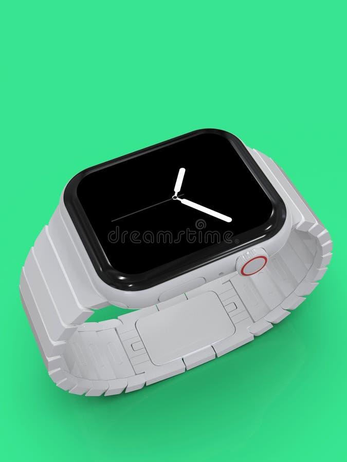 Jabłczani 4 zegarka plotki biały ceramiczny powieściowy przyrząd, mockup zdjęcie royalty free