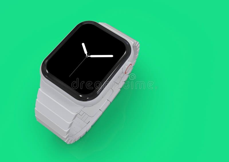 Jabłczani 4 zegarka plotki biały ceramiczny powieściowy przyrząd, mockup obraz stock