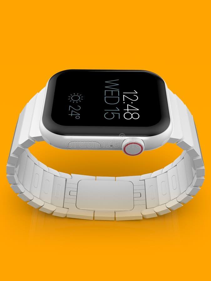 Jabłczani 4 zegarka plotki biały ceramiczny powieściowy smartwatch, mockup fotografia stock