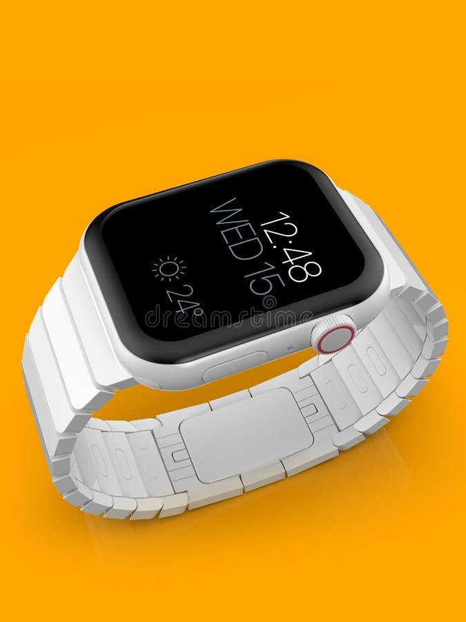 Jabłczani 4 zegarka plotki biały ceramiczny powieściowy smartwatch, mockup zdjęcia stock