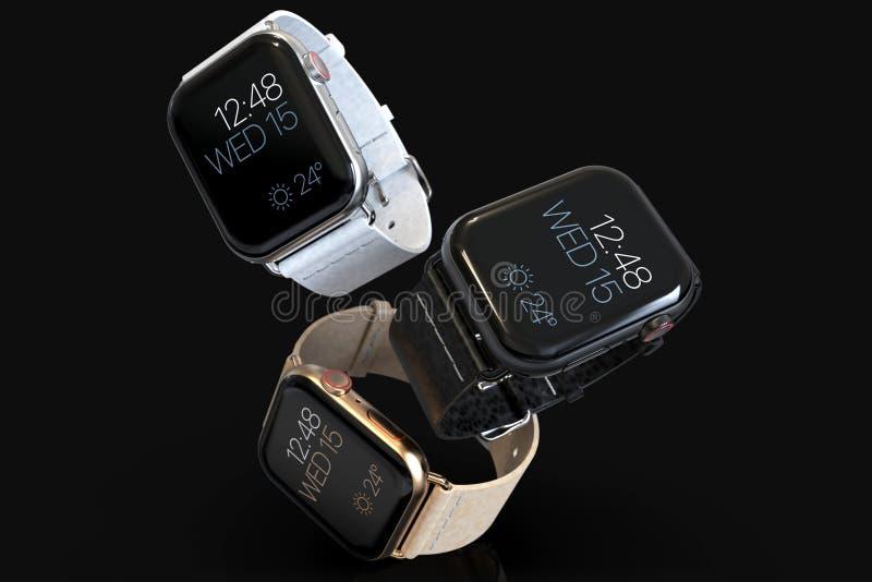 3 Jabłczani 4 zegarka smartwatches stylowy unosić się royalty ilustracja