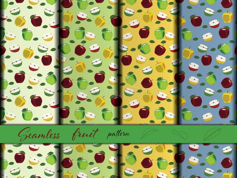 jabłczany owocowy bezszwowy wzór royalty ilustracja