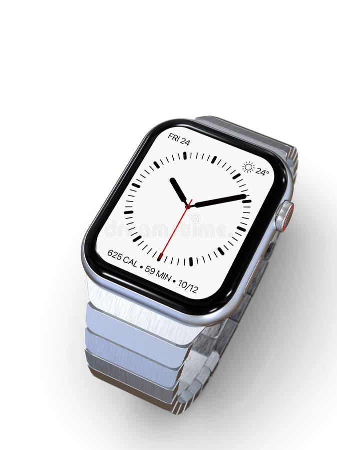 Jabłczany zegarek 4, 44 mm jednakowego smartwatch - srebro zdjęcia royalty free
