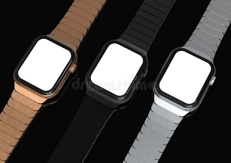 3 Jabłczanych 4 zegarka smartwatch stylowego przyrządu, mieszkanie na stole obraz stock