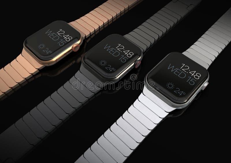 3 Jabłczanych 4 zegarka smartwatch stylowego przyrządu, mieszkanie na stole obrazy royalty free