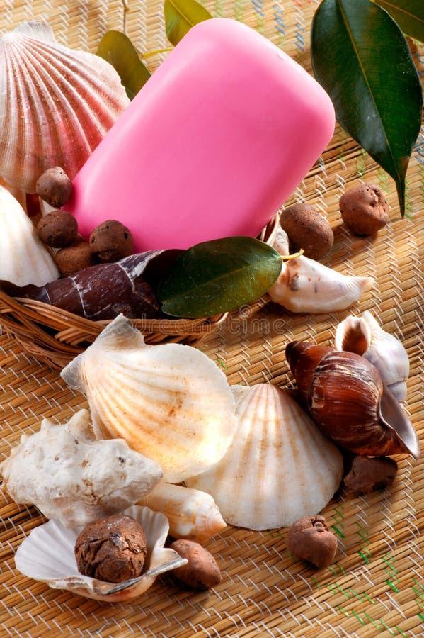 Jabón en una cesta de mimbre con los seashells fotografía de archivo libre de regalías