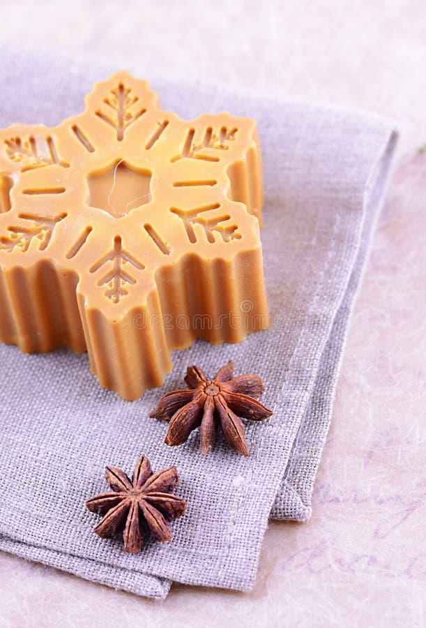 Jabón hecho a mano con la estrella del canela y del anís fotos de archivo