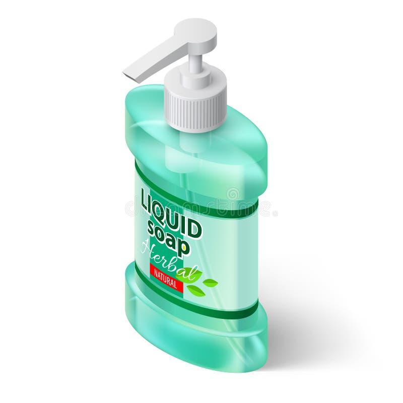 Jabón líquido isométrico stock de ilustración