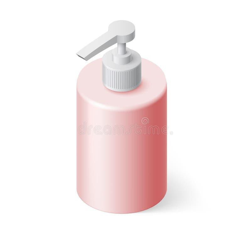 Jabón líquido isométrico ilustración del vector