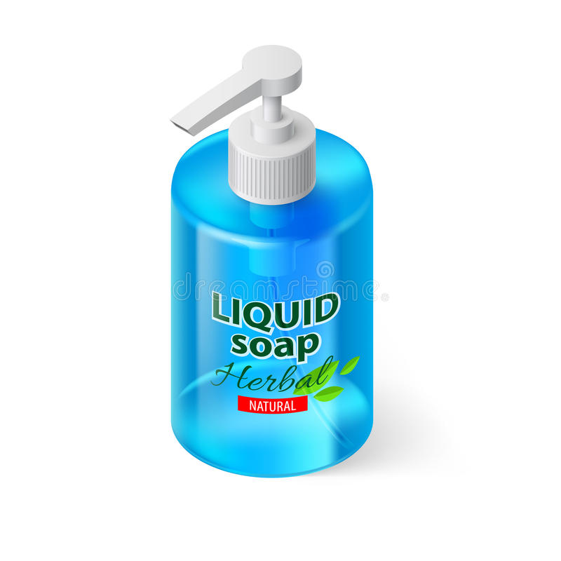 Jabón líquido isométrico libre illustration