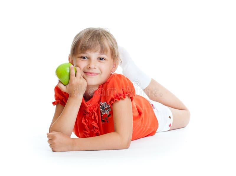 jabłczana łasowania dziewczyny zieleń odizolowywająca portreta szkoła zdjęcia royalty free
