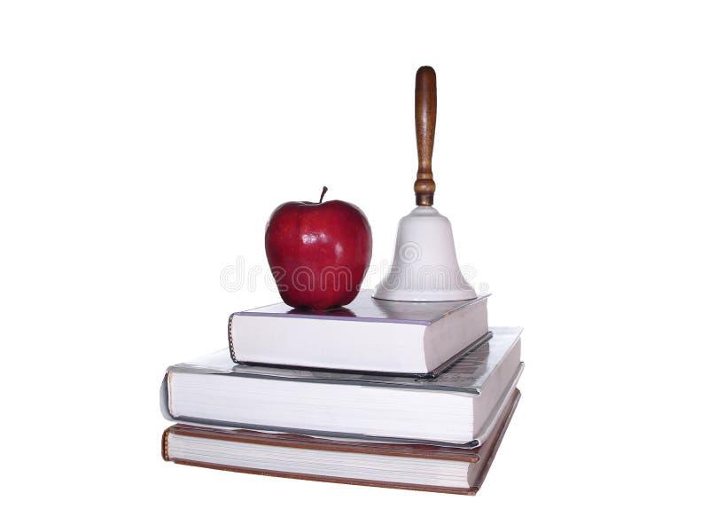 jabłczana bell książek ścinku drogi do szkoły zdjęcie stock
