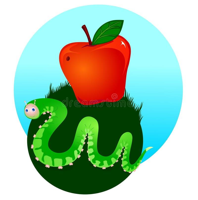 jabłczana gąsienica ilustracja wektor