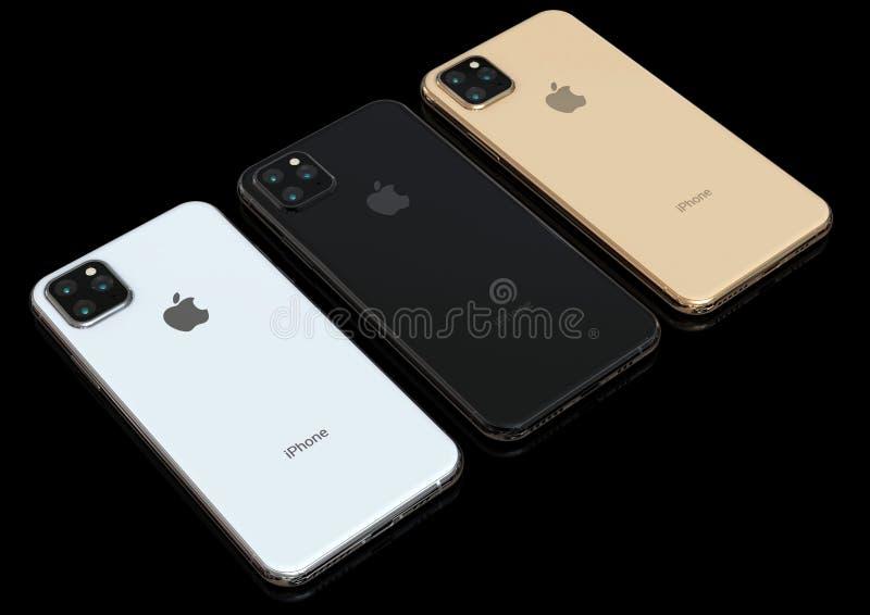 Jabłczana iPhone Xs następca, 2019, plotkująca projekt symulacja obrazy royalty free