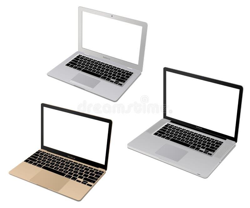 Jabłczana laptop kolekcja ilustracja wektor