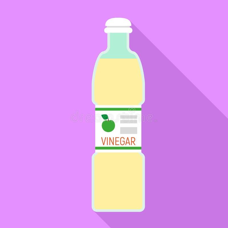 Jabłczana ocet butelki ikona, mieszkanie styl ilustracji