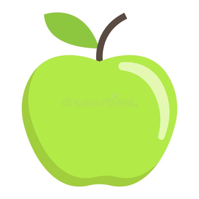 Jabłczana płaska ikona, owoc i dieta, wektorowe grafika ilustracja wektor
