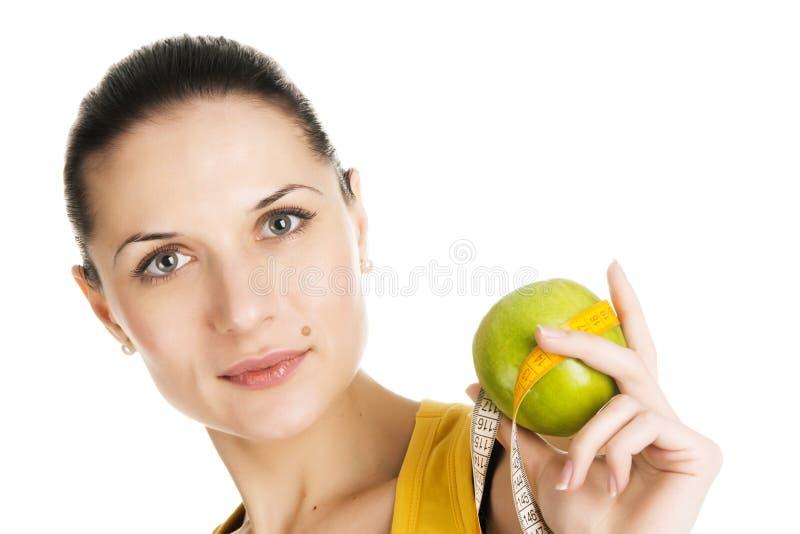 Download Jabłczana Piękna Zielona Mienia Schudnięcia Kobieta Zdjęcie Stock - Obraz złożonej z szczęśliwy, femaleness: 13328342