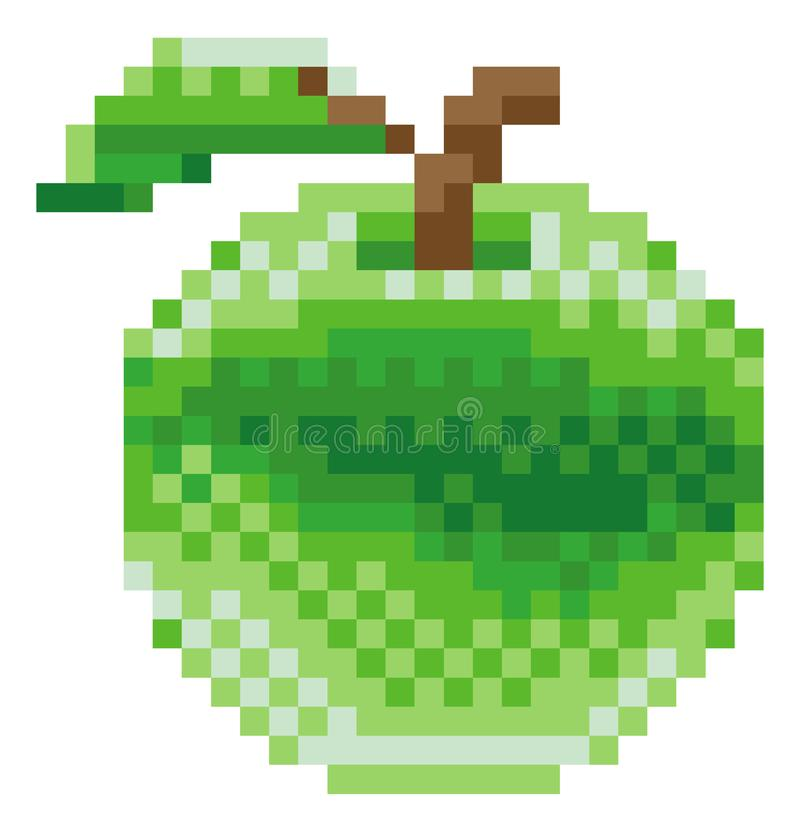 Jabłczana piksel sztuki 8 kawałka gra wideo owoc ikona royalty ilustracja
